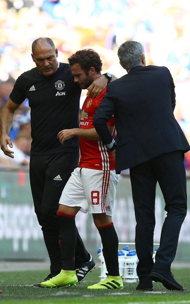 Juan Mata looked upset when substituted in stoppage time at the end of the Community Shield against Leicester City at Wembley Stadium