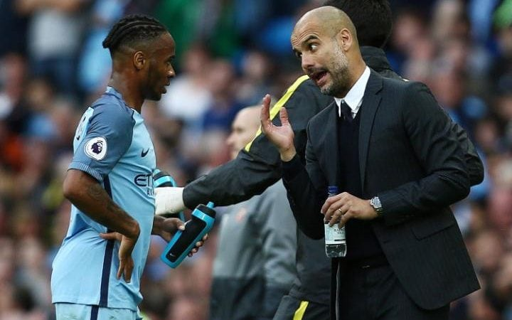 Image result for raheem sterling and pep guardiola