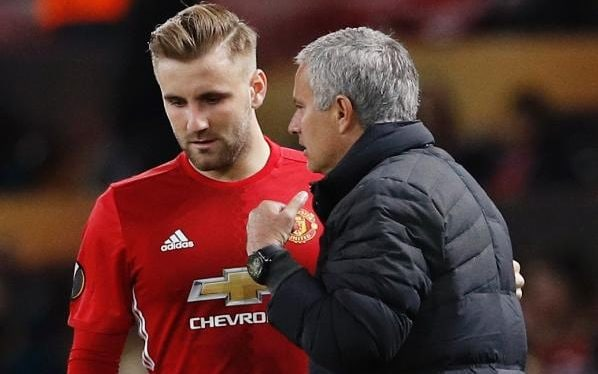 Image result for luke shaw and mourinho