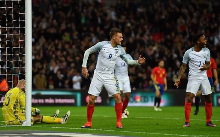 amie Vardy of England (9) celebrates with Raheem Sterling (7) as he scores their second goal during the international friendly match between England and Spain
