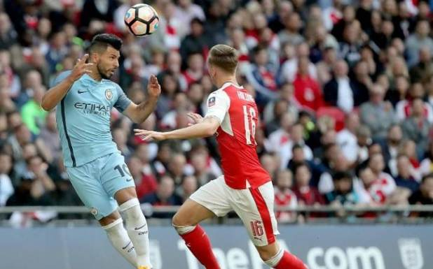 Aguero heads against Arsenal