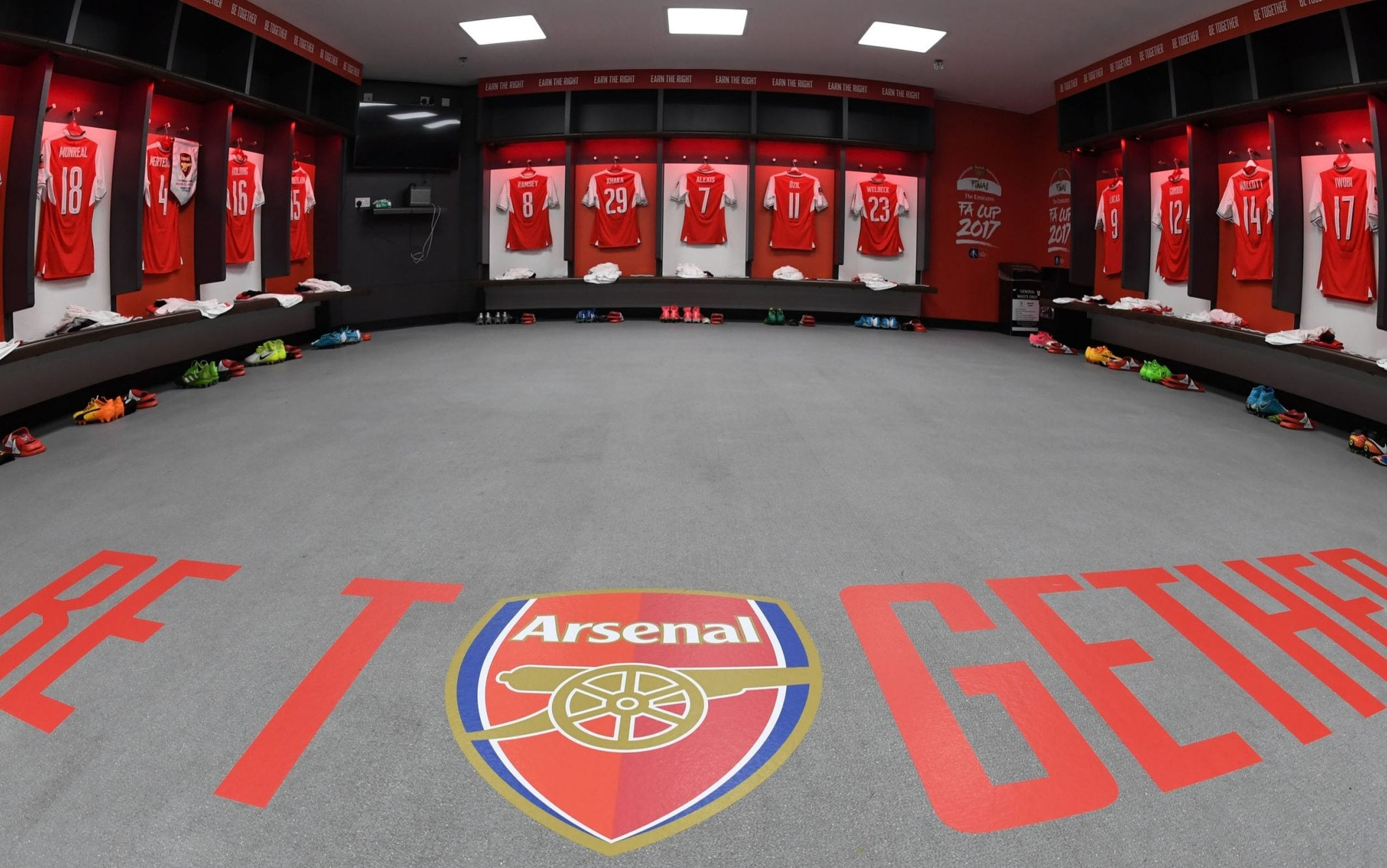 Kits hang ready for the Arsenal team in the changing rooms