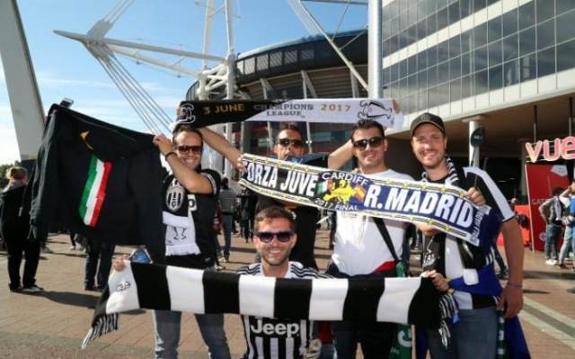 Juventus fans arrive for the UEFA Champions League final between Juventus FC and Real Madrid