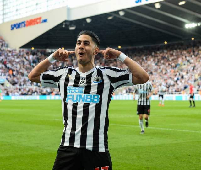 Ayoze Perez Of Newcastle United 17 Celebrates After Scoring His Second Gaol During The