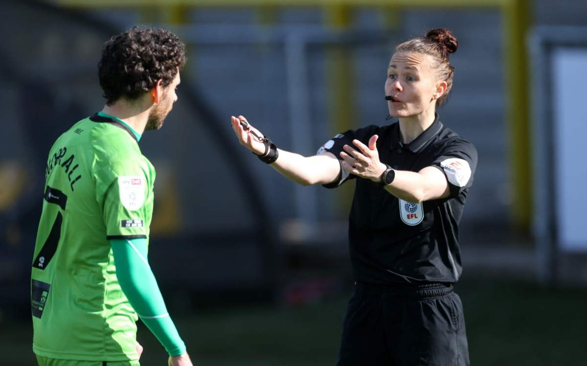 Referee Rebecca Welch during the match.