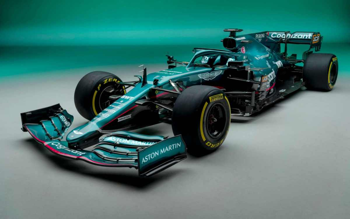 An undated handout photograph released by Aston Martin Cognizant Formula One Team on March 3, 2021 shows the team's AMR21, their new car for the 2021 Formula One season, at their facility in Leighton Buzzard, north of London