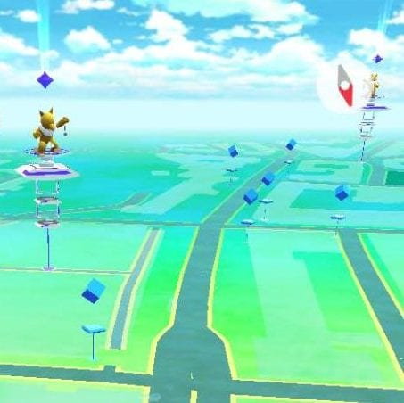This is what gyms look like on the main screen in Pokemon Go