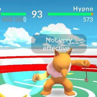 Hypno under attack in a Pokemon Go gym battle