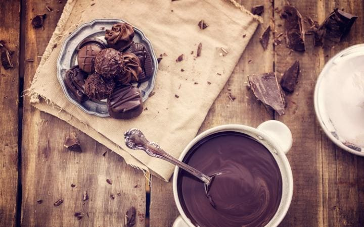 Chocolate sauce and truffles