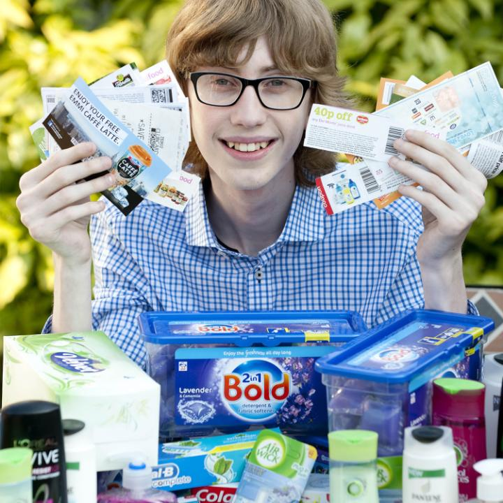 16-year-old Jordan Cox who helped low-income families in Brentwood, Essex, by clipping coupons