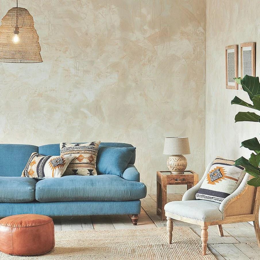 A living room painted in Seed Pod by Bauwerk