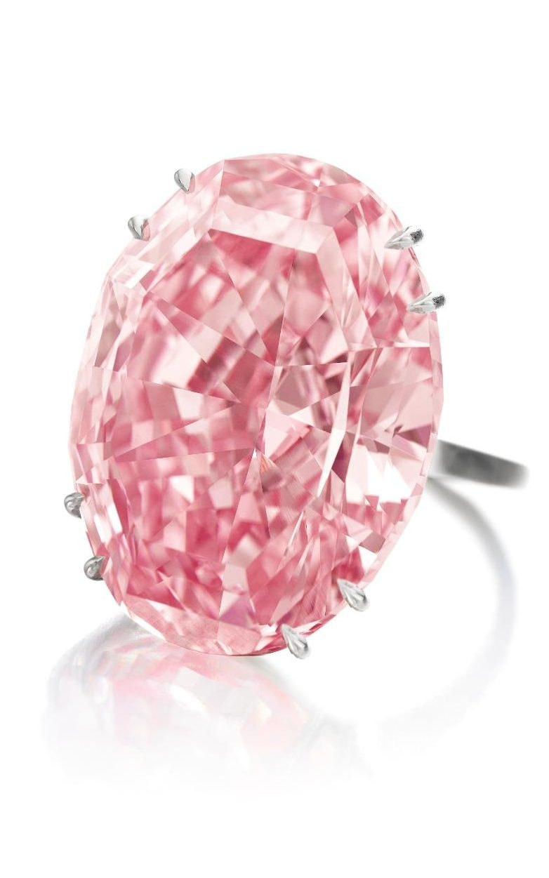 The 59.60-carat Pink Star pink diamond sold for $71.2 million (including buyer's premium) at auction in Hong Kong