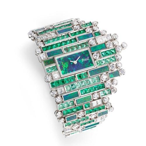 Piaget Verde Bisazza watch with emeralds, diamonds and black opal