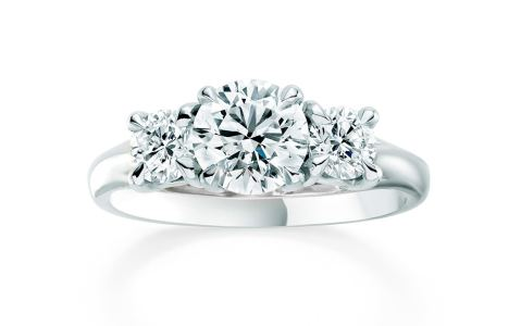 Ena Harkness three-stone engagement ring by Mappin & Webb