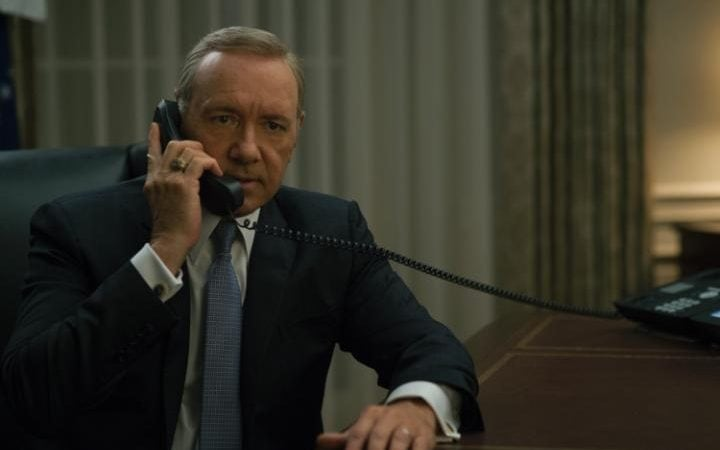 Kevin Spacey playing ruthless politician Frank Underwood in House of Cards