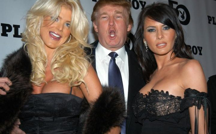 Donald Trump is flanked by Victoria Silvstedt, 1997 Playmate of the Year, and his girlfriend, Melania Knauss, at Playboy magazine's 50th anniversary celebration