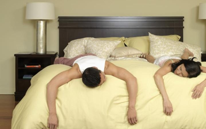 A post-coital couple enjoy some deep sleep