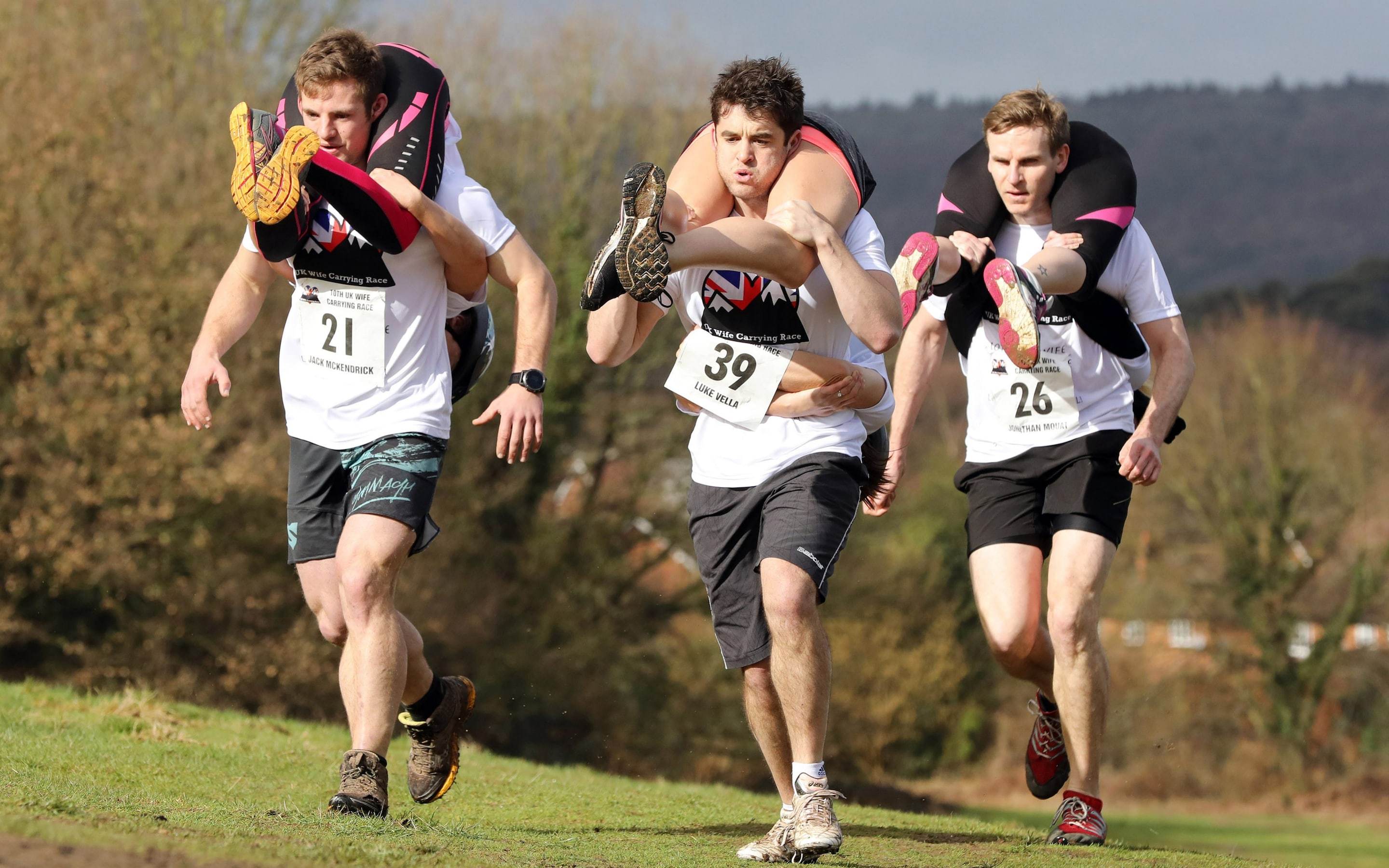 Wife Carrying Race in Dorking Surrey  Its the unPC Olympics Husbands heave their spouses