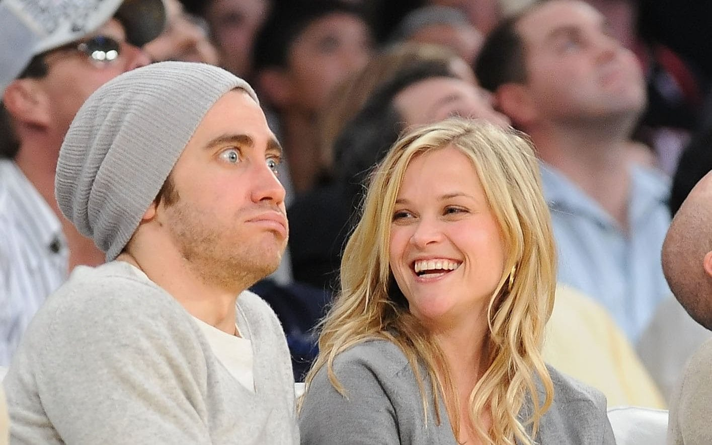 Jake Gyllenhaal with former girlfriend Reese Witherspoon at a Los Angeles Lakers basketball match in 2009