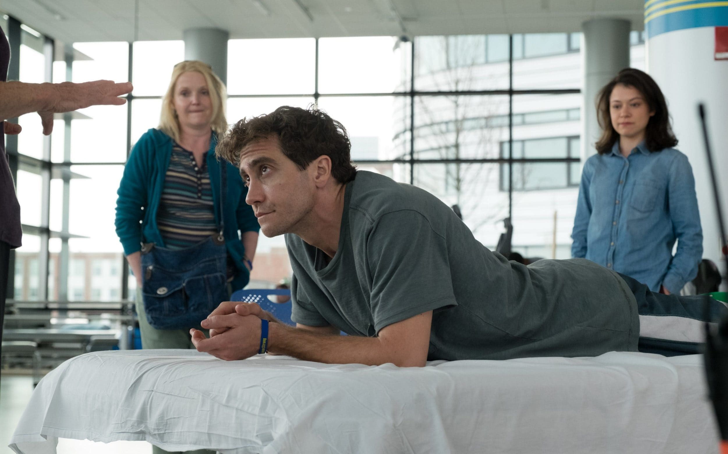 Jake Gyllenhaal in his latest film, Stronger, where he plays Jeff Bauman who lost his legs in the Boston Marathon bombing