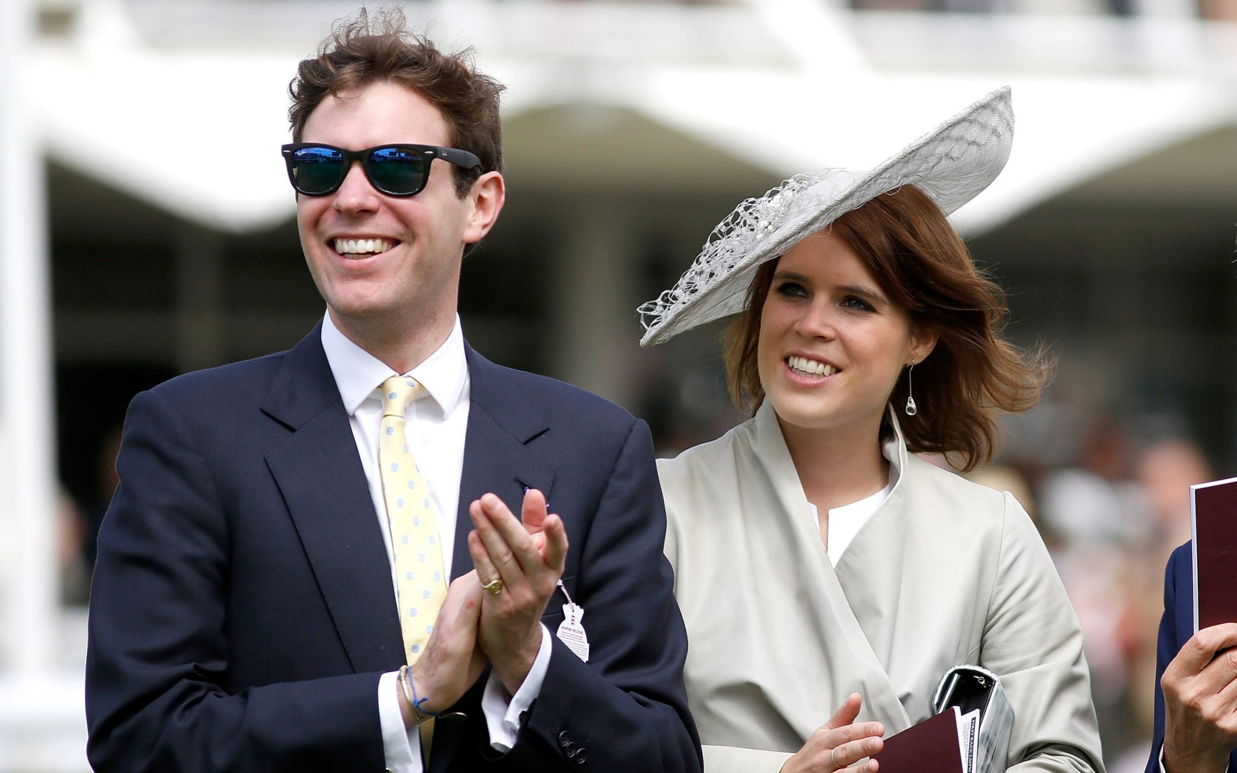 Princess Eugenie and Jack Brooksbank attend the Qatar Goodwood Festival at Goodwood Racecourse on July 30, 2015 in Chichester