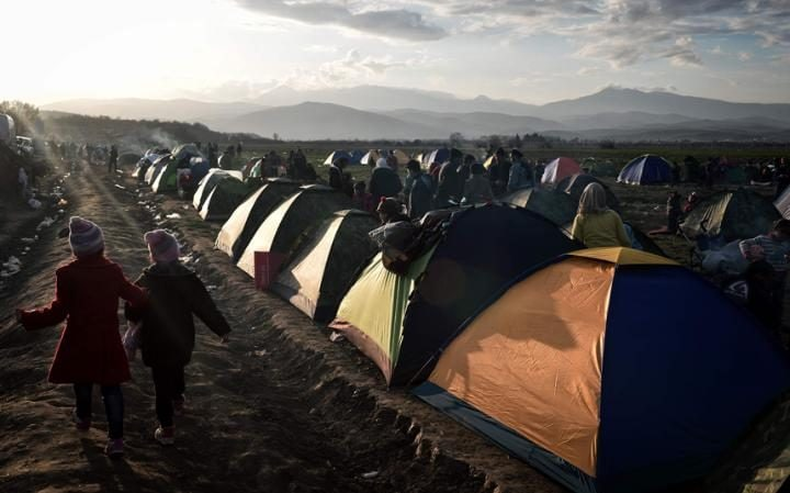 The makeshift migrant camp near the Greek village of Idomeni