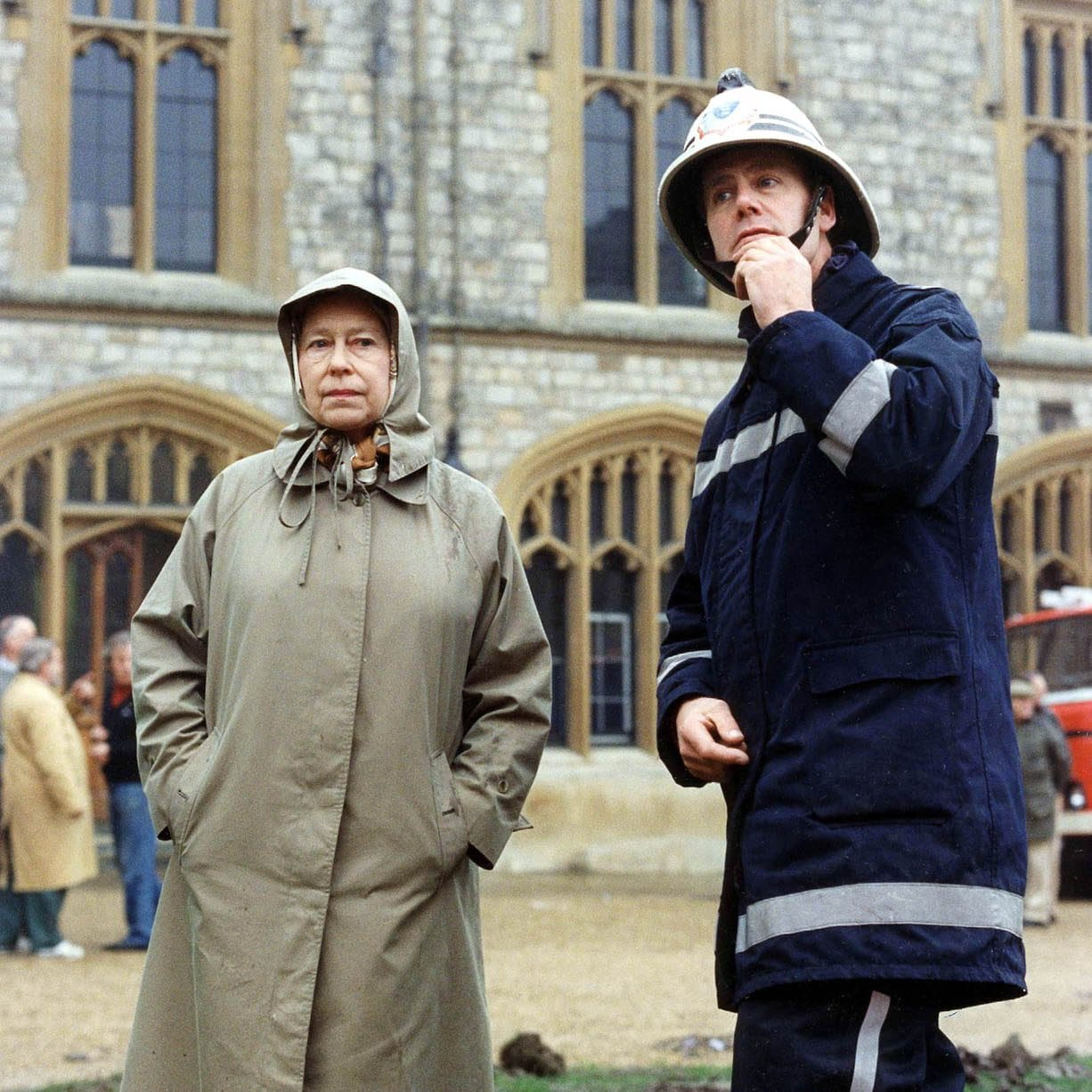 The Queen Inspecting The Damage Caused By The Fire At