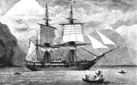 HMS Beagle in the Straits of Magellan with Mt Sarmiento in the distance in 1832