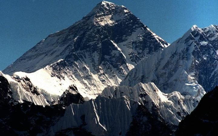 The summit of Mount Everest, seen from the peak of Gokyo Ri in Nepal.
