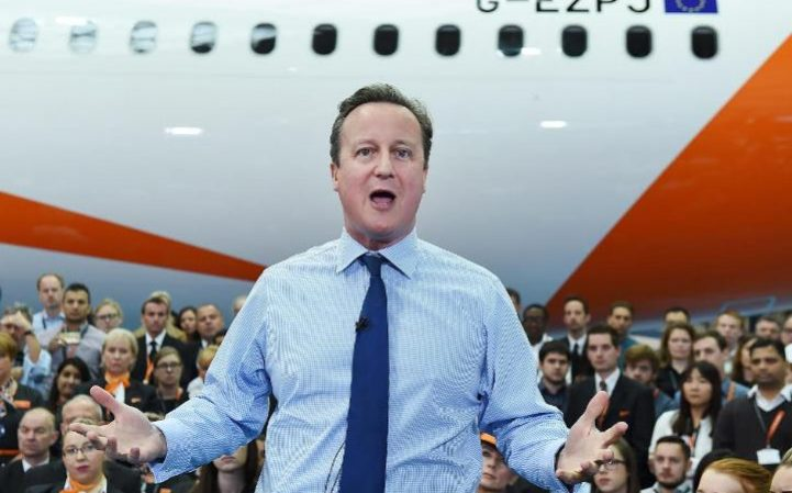 British Prime Minister David Cameron delivers a speech campaigning to stay in the EU at Luton Airport