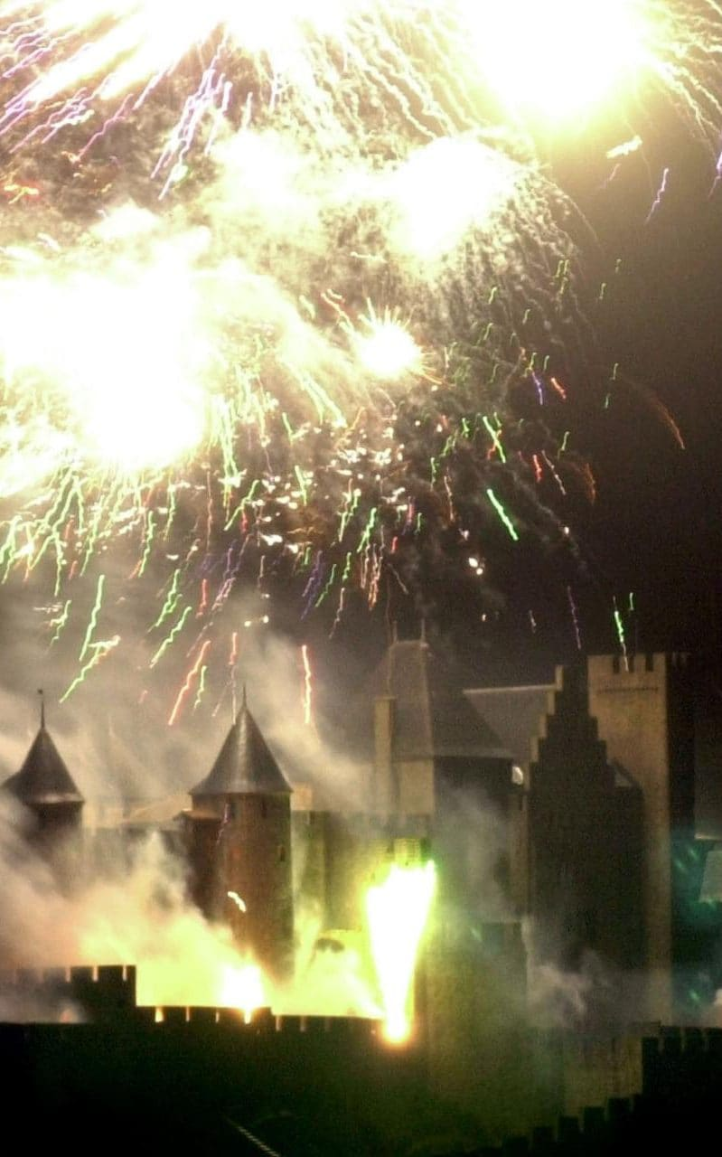 Fireworks light up the medieval Cite de Carcassonne southwestern France