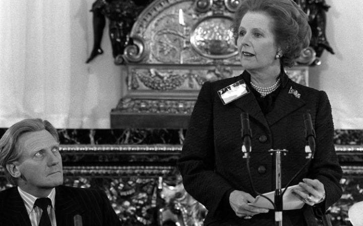 Lord Heseltine pictured in 1983 as defence secretary alongside Margaret Thatcher