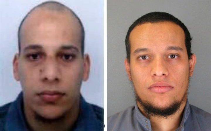 Cherif and Said Kouachi, who killed 12 people in an and around the offices of Charlie Hebdo in January 2015. Cherif Kouachi's brother-in-law has now been arrested allegedly en route to Syria.