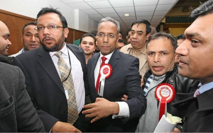 Lutfur Rahman with supporters after being elected Tower Hamlets Mayor