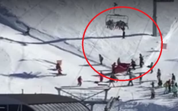 ski chair lift stair elevator heart stopping moment boy is left dangling from chairlift jack clulee hanging