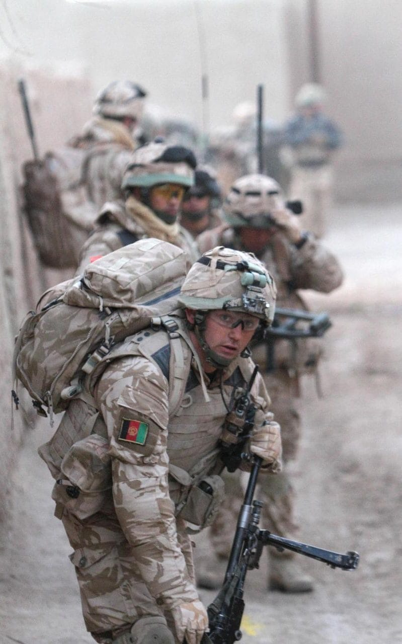 Soldiers of 'A' Company, 1st Battalion The Royal Welsh Regiment, on patrol in Showal, Helmand