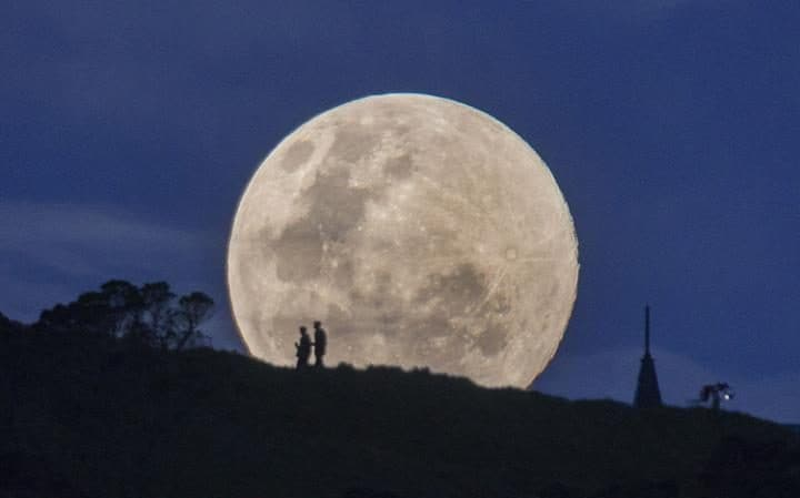 Supermoon rises over Auckland, New Zealand