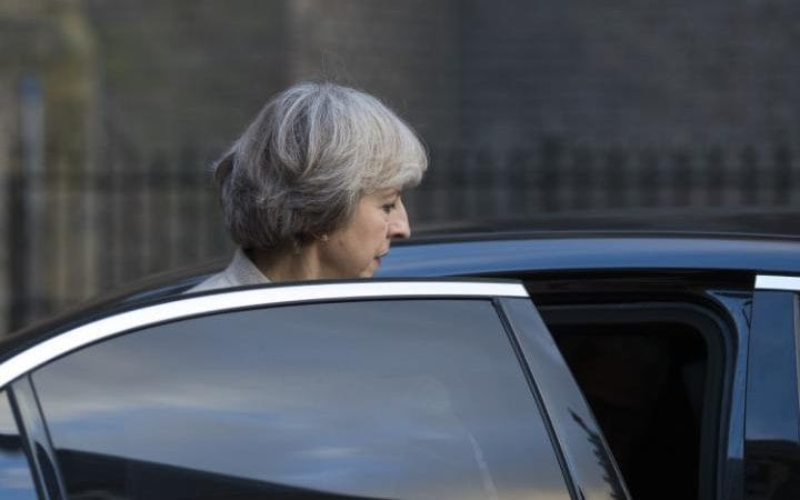 Theresa May departs a meeting with Dutch prime minister Mark Rutte this week