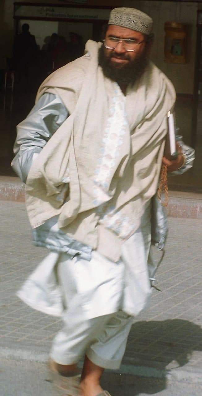 Maulana Masood Azhar, Muslim cleric and leader of the militant group fighting in Indian-held Kashmir against Indian forces, arrives at Karachi airport in January, 2000, after being released by Indian authorities in a prisoner exchange