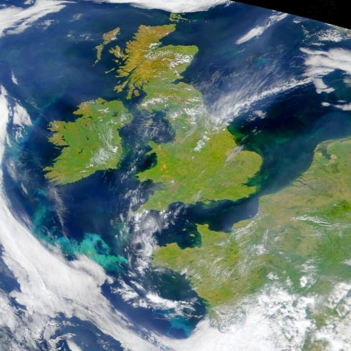 The British Isles and Northern France viewed from space