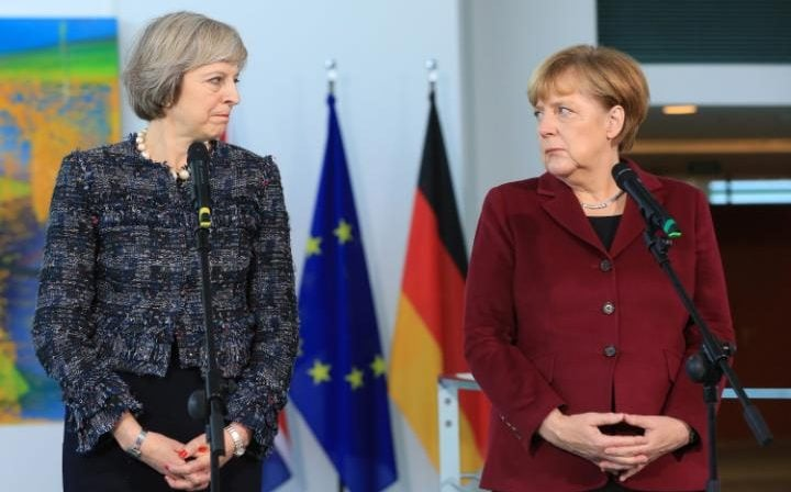 Theresa May and Angela Merkel in Berlin