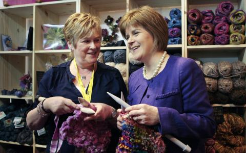 Nicola Sturgeon and her mother enjoying a spot of knitting