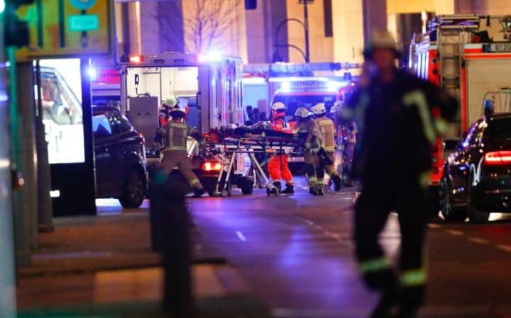 Paramedics treat the injured in Berlin following the attack
