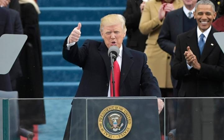 US President Donald Trump speaks to the nation during his swearing-in ceremony
