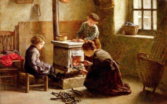 A nineteenth century painting of a working class mother placing small sticks into a stove as her children watch
