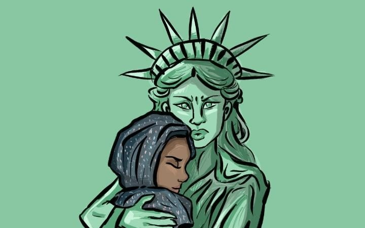 Many people have posted cartoons in response to Donald Trump's travel ban