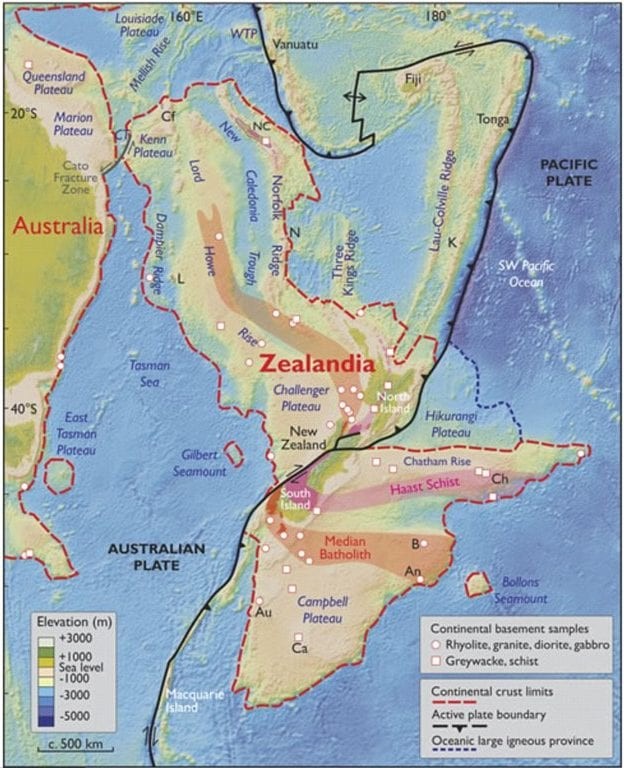 An elevation map of Zealandia and nearby Australia