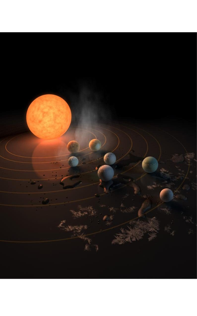 Handout image issued by NASA showing an artist's concept of TRAPPIST-1, an ultra-cool dwarf star, and the seven Earth-size planets orbiting it