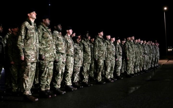 British soldiers line up at Amari military air base in Estonia