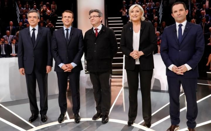 Candidates from left to right: Francois Fillon, Emmanuel Macron, Jean-Luc Melenchon, Marine Le Pen and Benoit Hamon